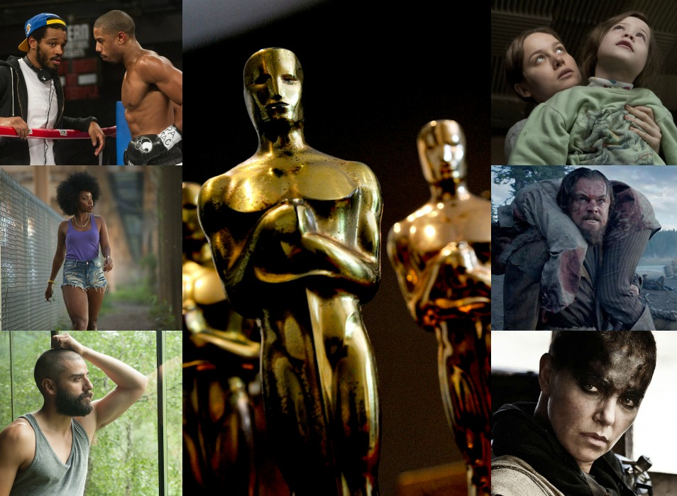 Creed  (Image © Warner Bros.),  Chi-Raq  (Image © Roadside Attractions),  Ex Machina  (Image © Universal Pictures),  Room  (Image © A 24 Films),  The Revenant  (Image © 20th Century Fox),  Mad Max: Fury Road  (Image © Warner Bros.), Oscars © AMPAS.