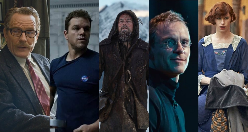 Bryan Cranston (Trumbo), Matt Damon (The Martian), Leonardo DiCaprio (The Revenant), Michael Fassbender (Steve Jobs), Eddie Redmayne (The Danish Girl)