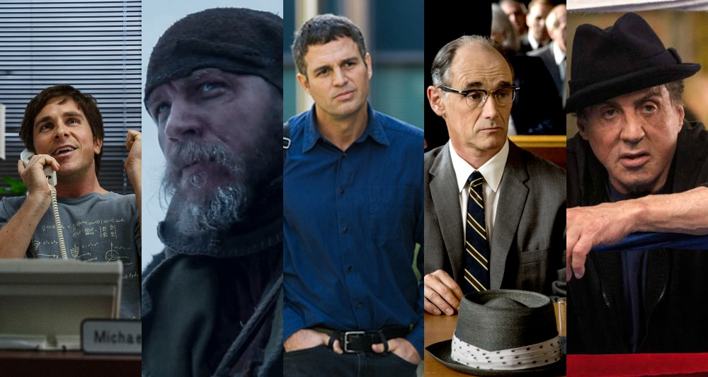 Christian Bale (The Big Short), Tom Hardy (The Revenant), Mark Ruffalo (Spotlight), Mark Rylance (Bridge of Spies), Sylvester Stallone (Creed)