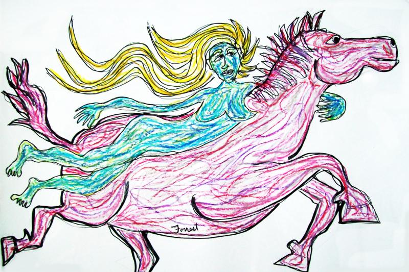 Lady Godiva (ink/oil pastel)