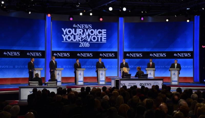 Republican candidates at the ABC News debate.