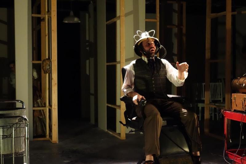 Thaddeus Shafer as Dr. Duchenne in Lunatics & Actors (Image © Raymond Lee).