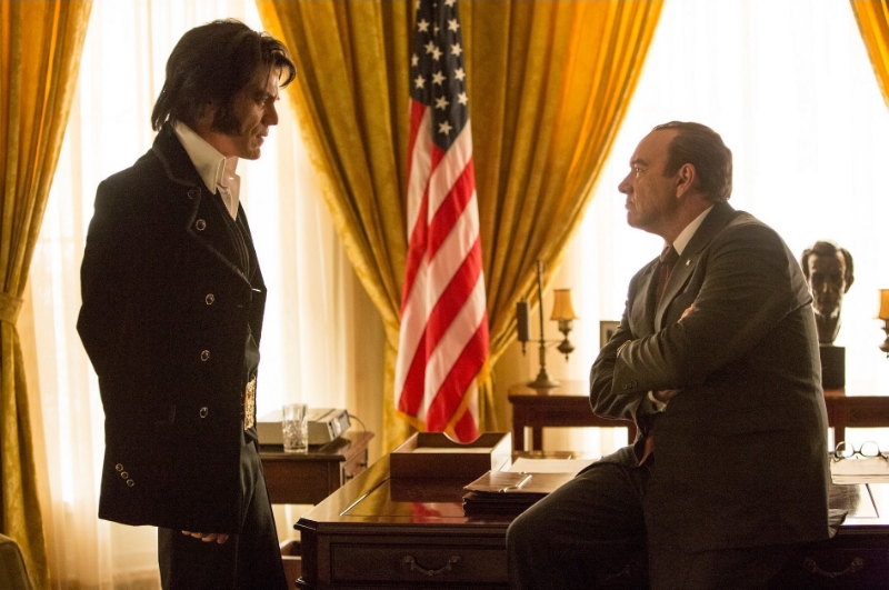 Michael Shannon and Kevin Spacey as Elvis Presley and Richard Nixon in  Elvis & Nixon , a movie about a photograph (Image © Amazon Studios/Bleecker Street).