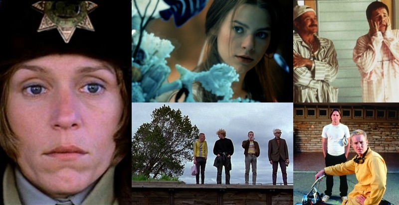 Clockwise, from left:  Fargo  (Image  © Gramcercy Pictures)  , William Shakespeare's Romeo + Juliet  (Image © 20th Century Fox) , The Birdcage  (Image © United Artists) , Bottle Rocket  (Image © Columbia Pictures) , Trainspotting  (Image © Miramax).