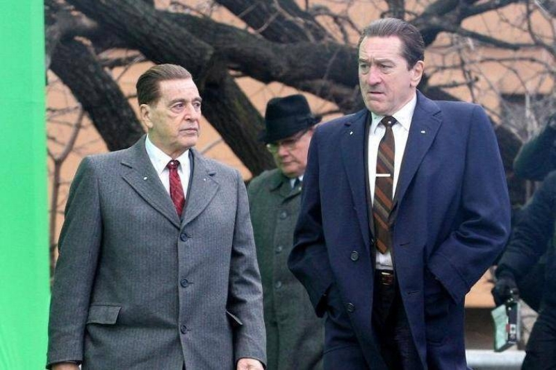 Al Pacino and Robert De Niro on the set of  The Irishman .