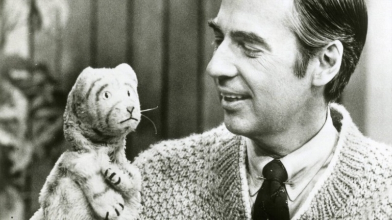Fred Rogers with his puppet/alter ego Daniel Striped Tiger and aww, man, I'm crying again. (Image © Focus Features)