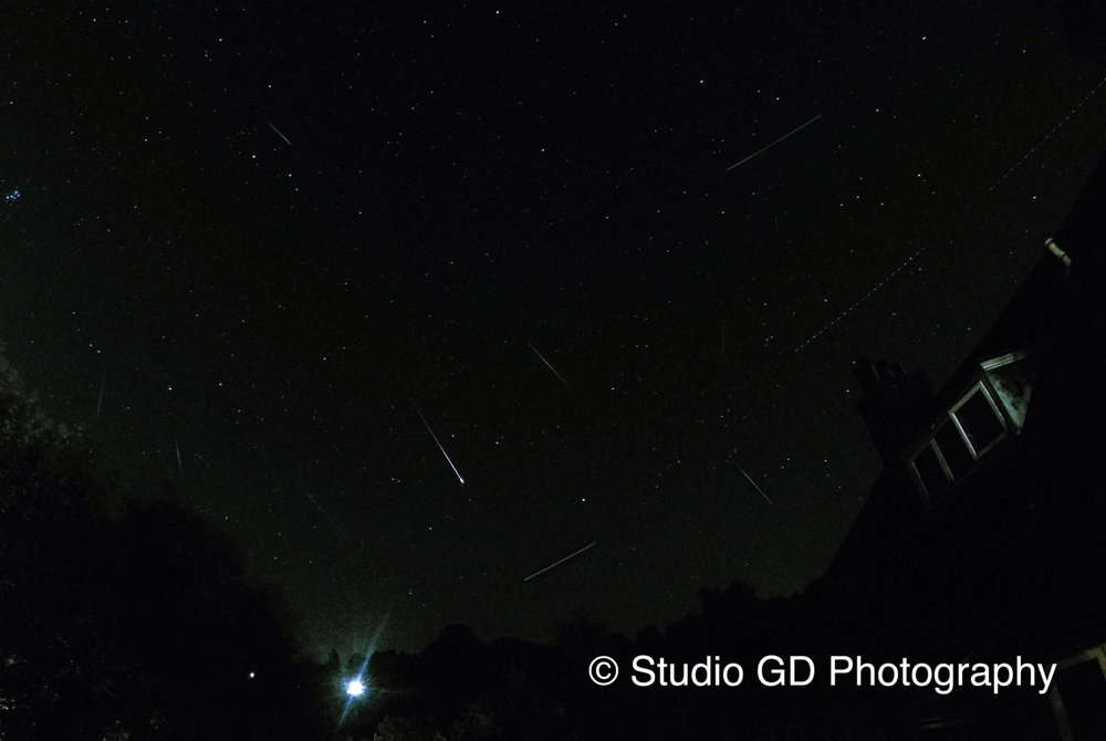 Montage Photo of the Perseids Meteor Shower‬ over Haslemere Surrey UK.