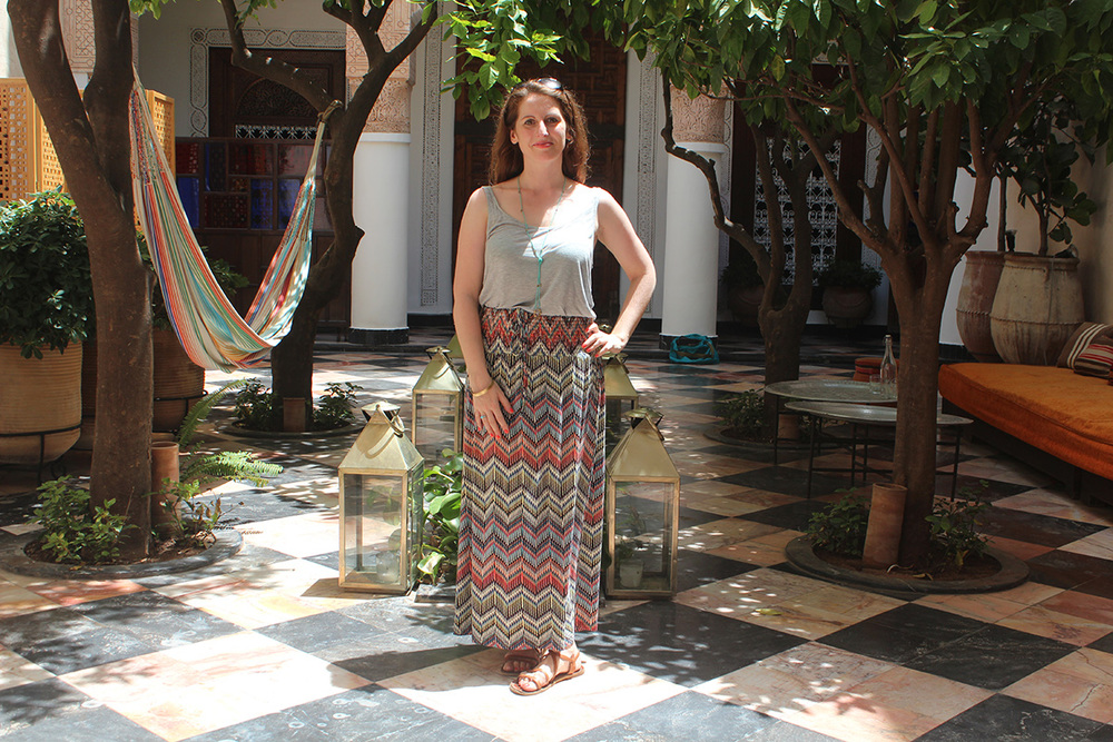 Image: Marie Milligan relaxing at El Fenn hotel, Marrakech, July 2015.