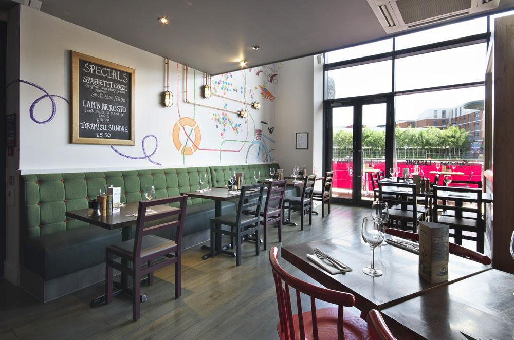 Restaurant design zizzi edinburgh quay — blockwork