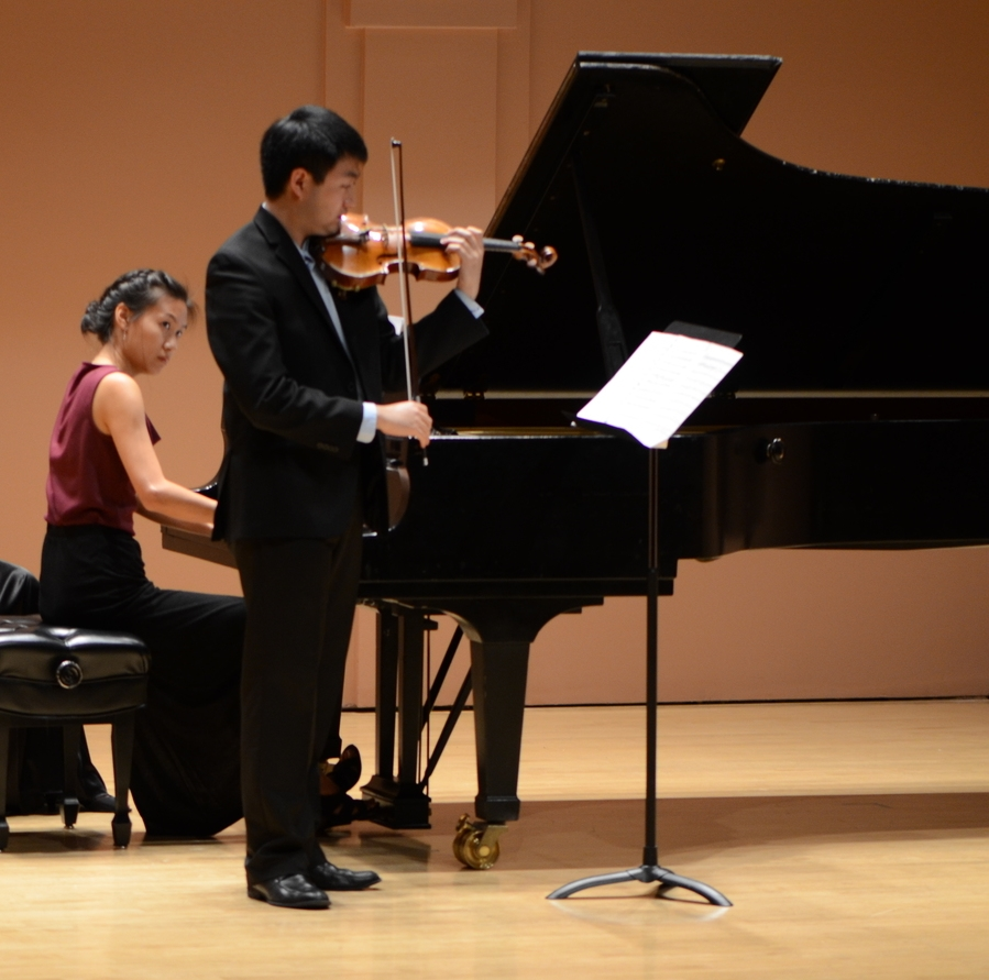 A performance of Ravel's Violin Sonata No. 2 with violinist, Boson Mo at Duncan Recital Hall (Photo credit: David Engel)