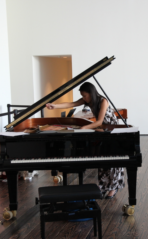 Bowing a piano in John Cage's  Five  at the Menil Collection