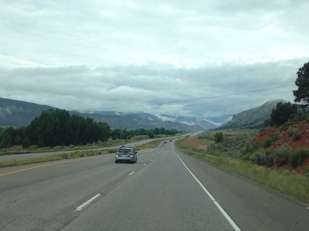 the misty drive to our first performance - Vail!
