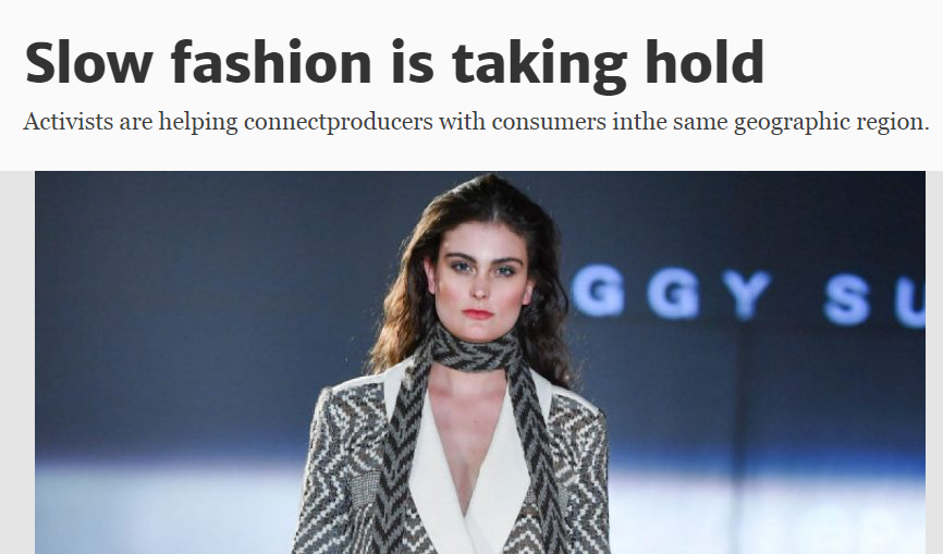 THE TORONTO STAR  Slow fashion is taking hold
