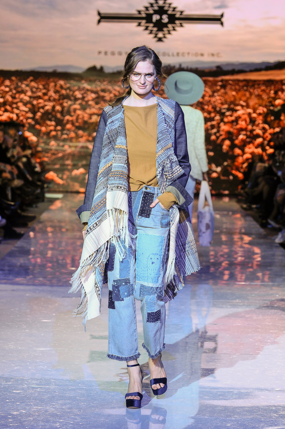 LIMITED EDITION JERSEY DRAPE TOP, DENIM FRINGED SWING COAT & ART-STITCHED CROPPED DENIM