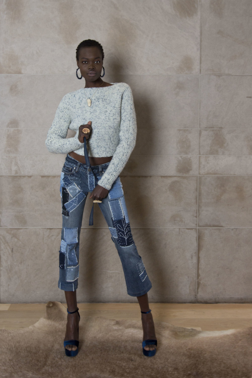 Denim Fleck Cropped Sweater and Sashiko Stitched Cropped Denim Pant