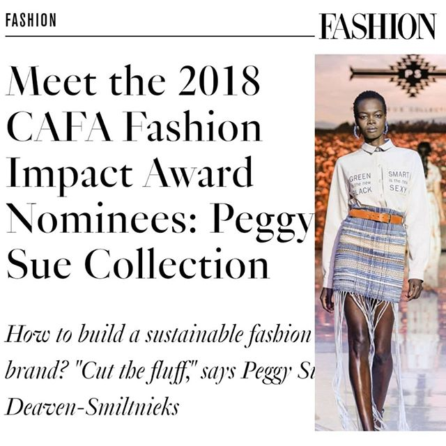 Article ALERT - Thank you @fashioncanada for an incredible feature on the eve of the CAFA Awards tomorrow.  We have been nominated for the Fashi👠n Imp♻ct Award by C🇨🇦FA and are so grateful for the energy and attention the Industry and the  W🌍🌎🌏RLD are giving this topic.  The Change is real.  https://fashionmagazine.com/fashion/peggy-sue-collection-sustainable/  And if you're not at CAFA - well stay tuned.....bc we've got some neat shares coming up for EARTH DAY...hint*NationalStyle*
