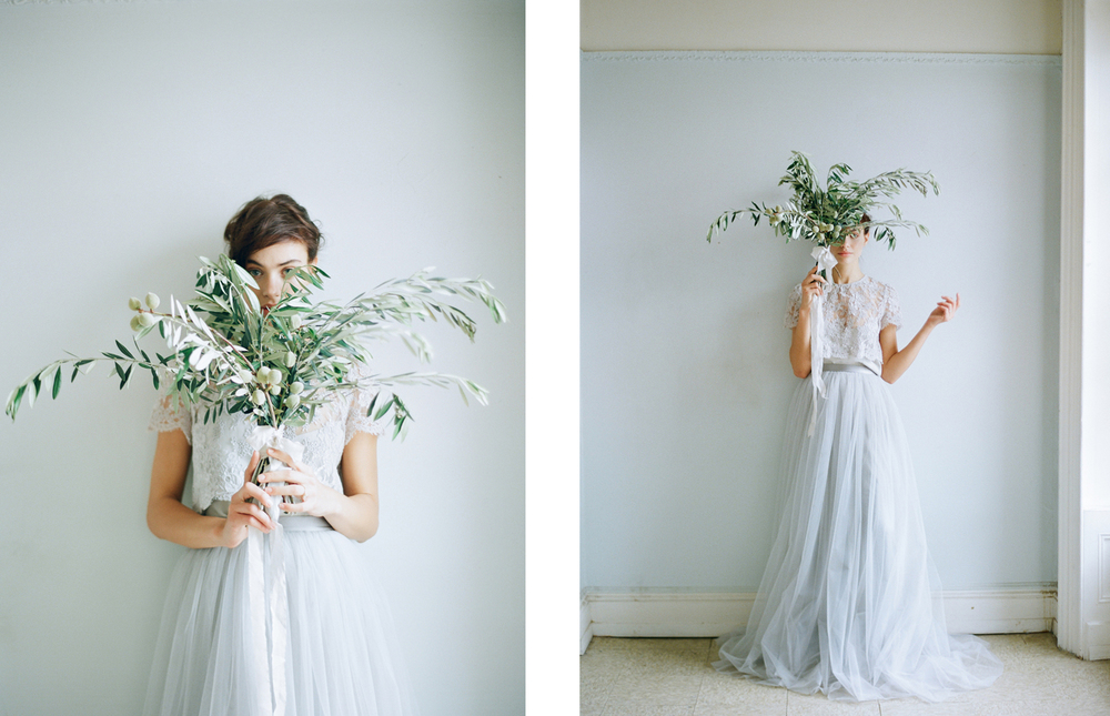 we love this olive branch bouquet she created for tulle magazine olive branches give a cool and minimalist vibe to a wedding look - Branch Flower Arrangements