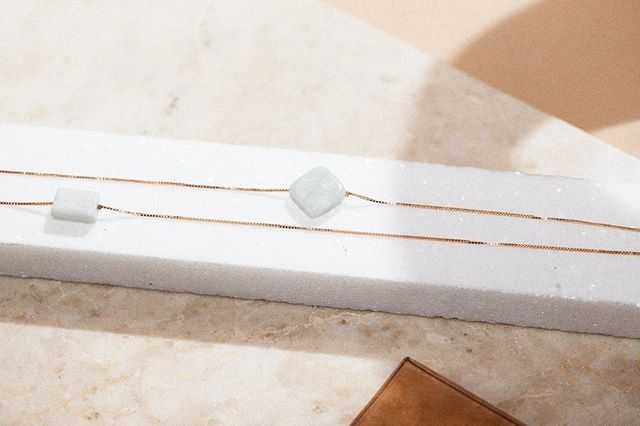The Elena Necklace ✨  Inspired by the bright pastels of the Mediterranean, cut from natural Amazonite stone.