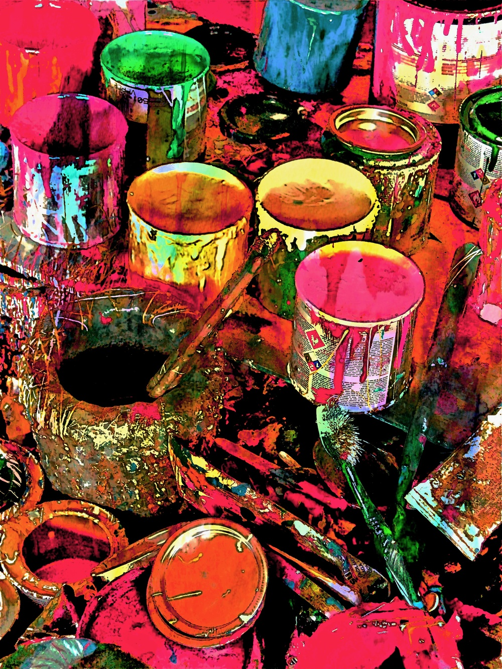 Messy Paint Cans  W105