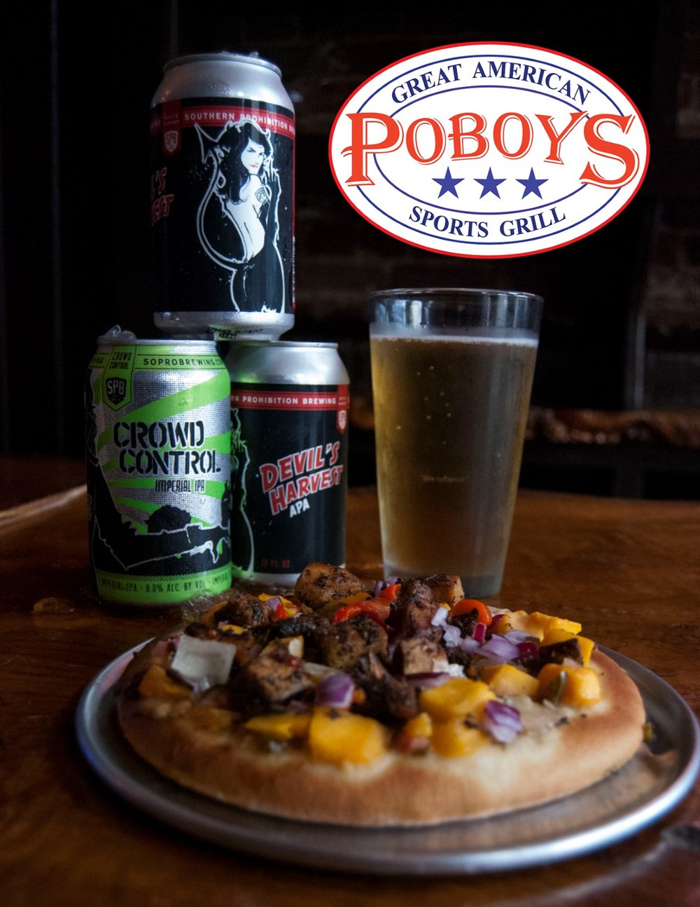 Caribbean Mango Jerk Chicken Pizza with Southern Prohibition Crowd Control IPA and Devil's Harvest APA!