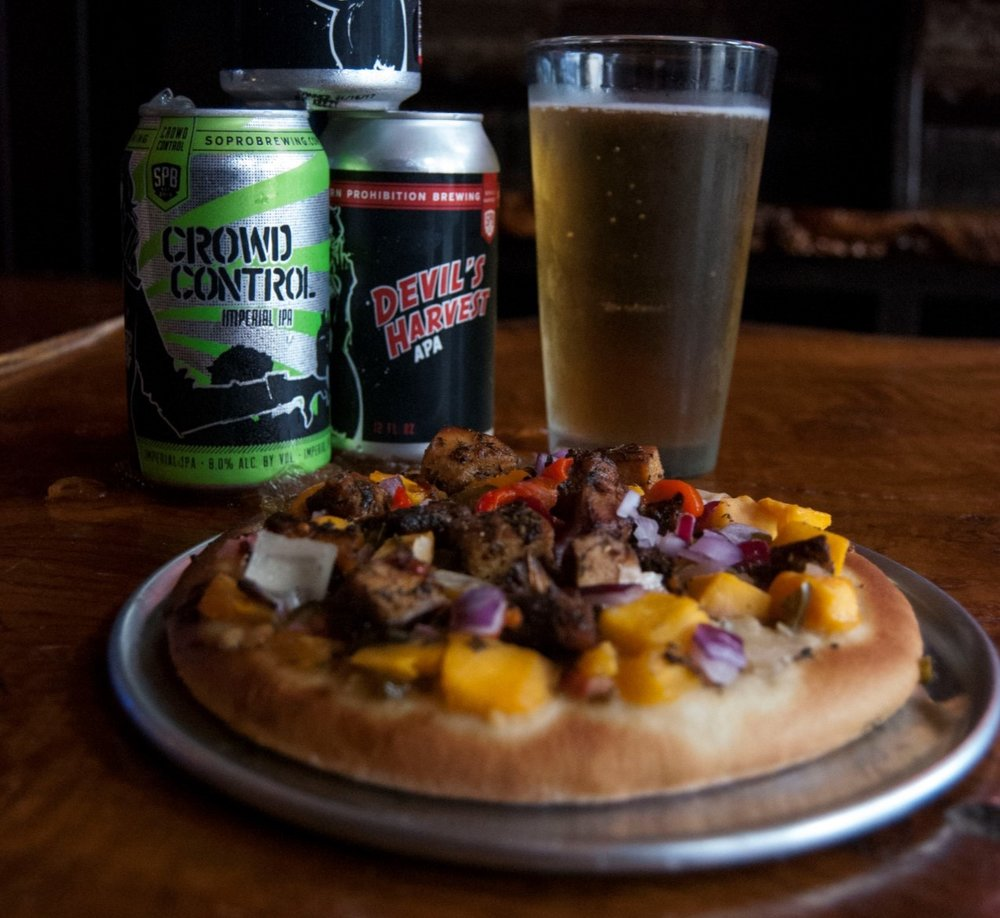 Caribbean Mango Jerk Pizza with Southern Prohibition Crowd Control IPA and Devil's Harvest APA