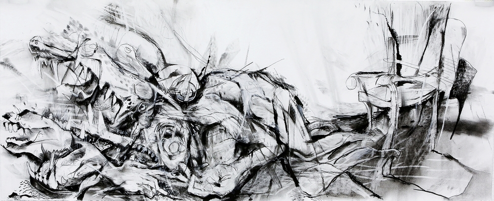 Untitled: 26 inches by 60 inches; charcoal, ink, pastel; 2013