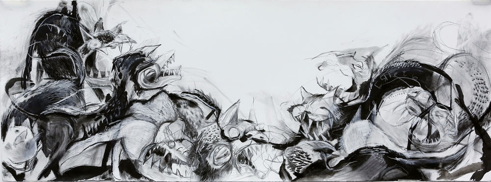 Untitled: 24 inches by 60 inches; charcoal, ink, pastel; 2013