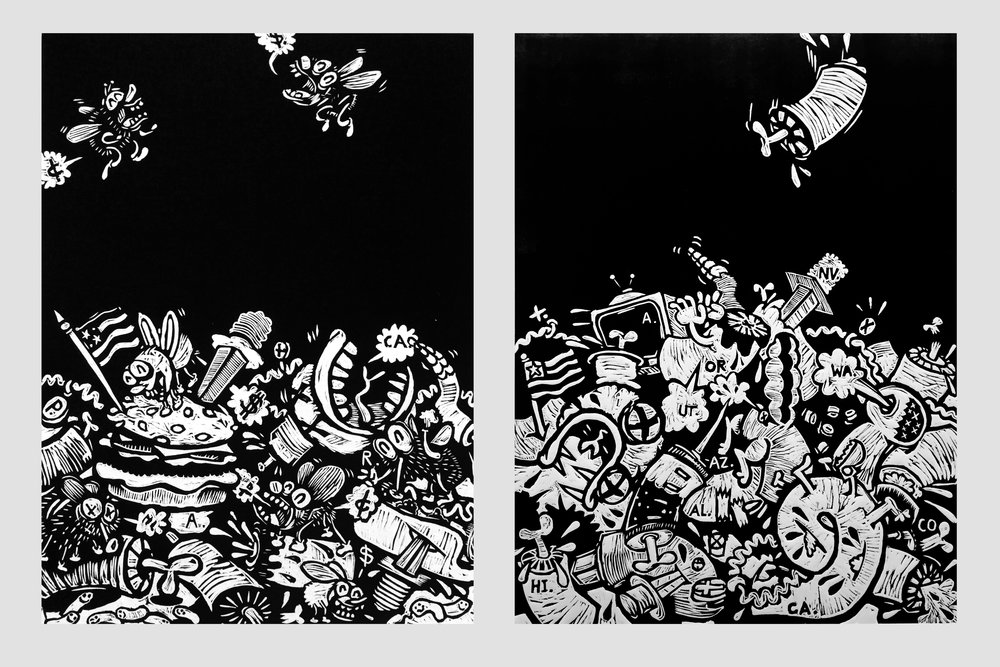 "A Political Cartoon Woodcut Print on BFK 22"" x 30"" each 2016"