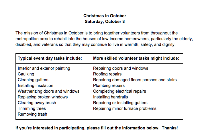 For more information contact Trevor Nohe at   trevor.nohe@gmail.com  or visit   http://www.christmasinoctober.org/