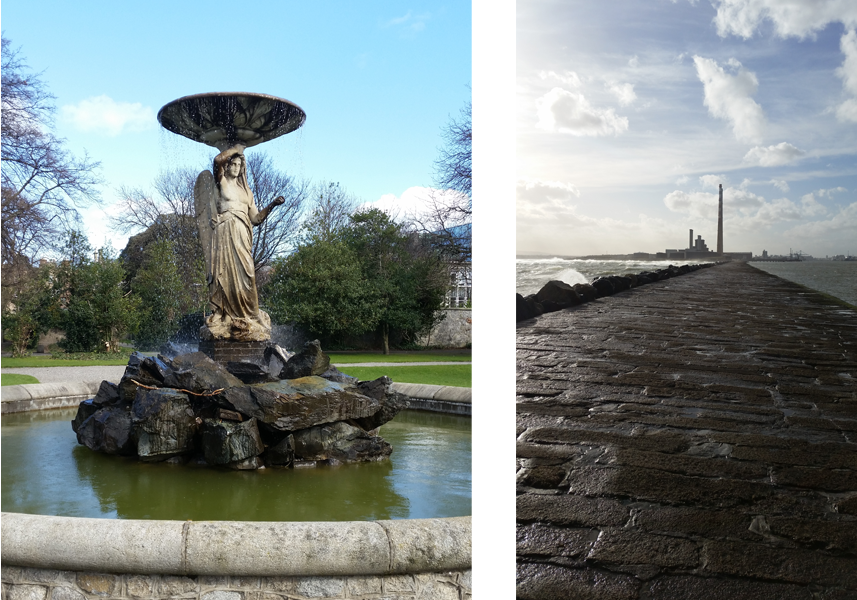The Iveagh Gardens are somewhat bare this time of year, but the fountains are still beautiful. And the boardwalk near the South Wall.