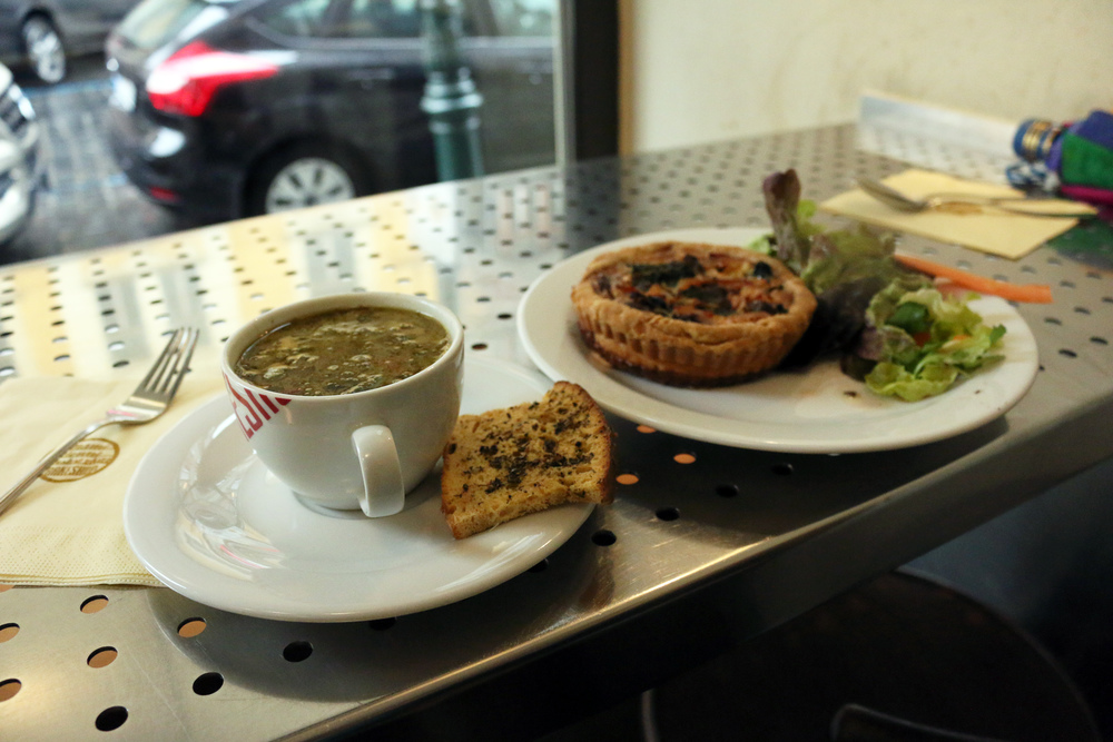 Thai chicken soup, and some sort of quiche.