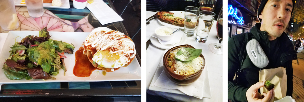 Huevos Antonio—Baked pasta—Schwarma + Falafel