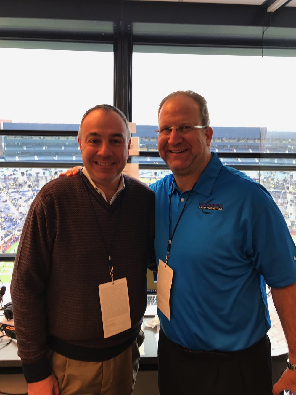 With my analyst Gino Torretta before our national broadcast of the Indiana-Michigan game in 2016.