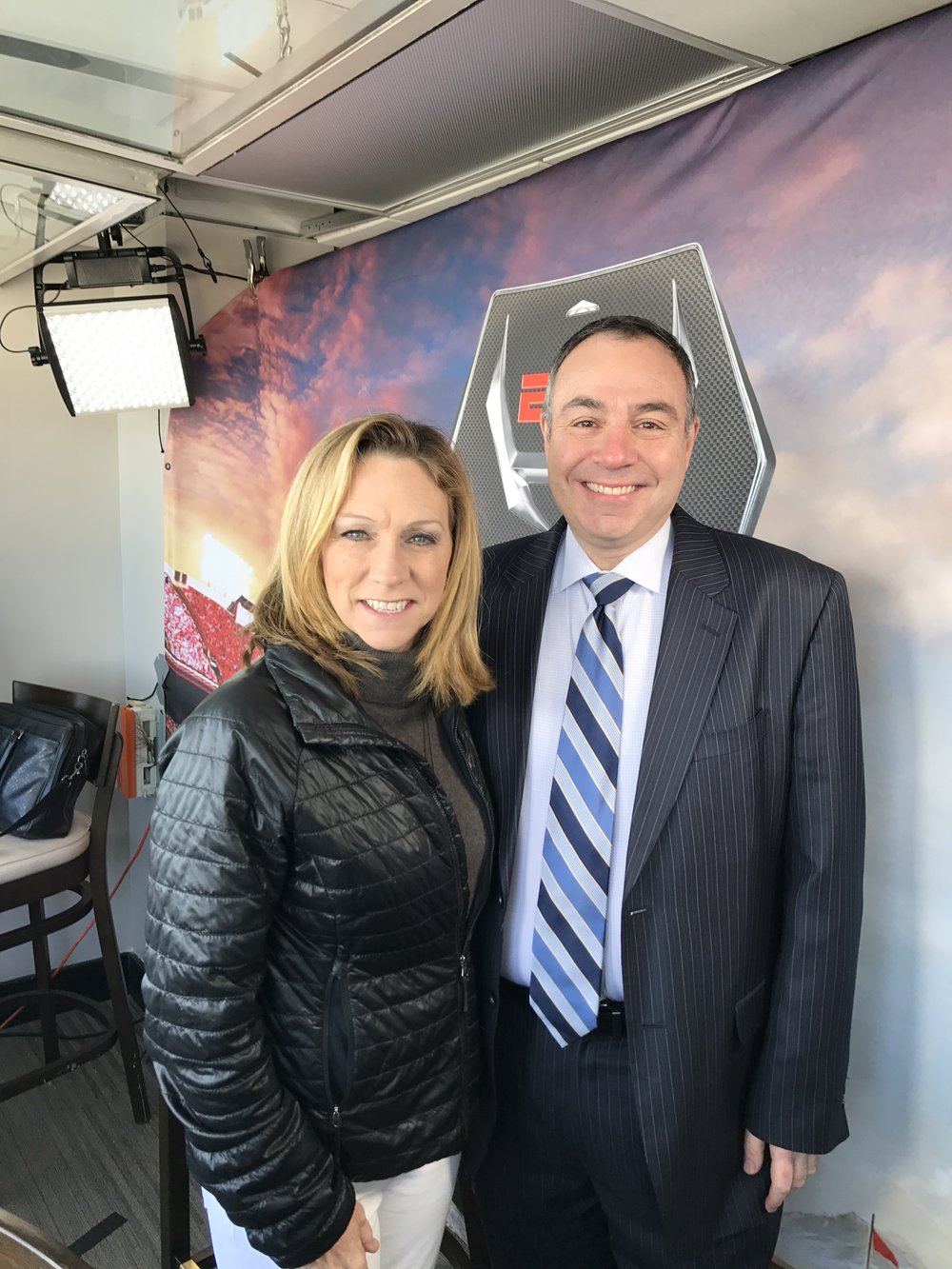 With friend  Beth Mowins in the booth before the 2016 Liberty Bowl Game.