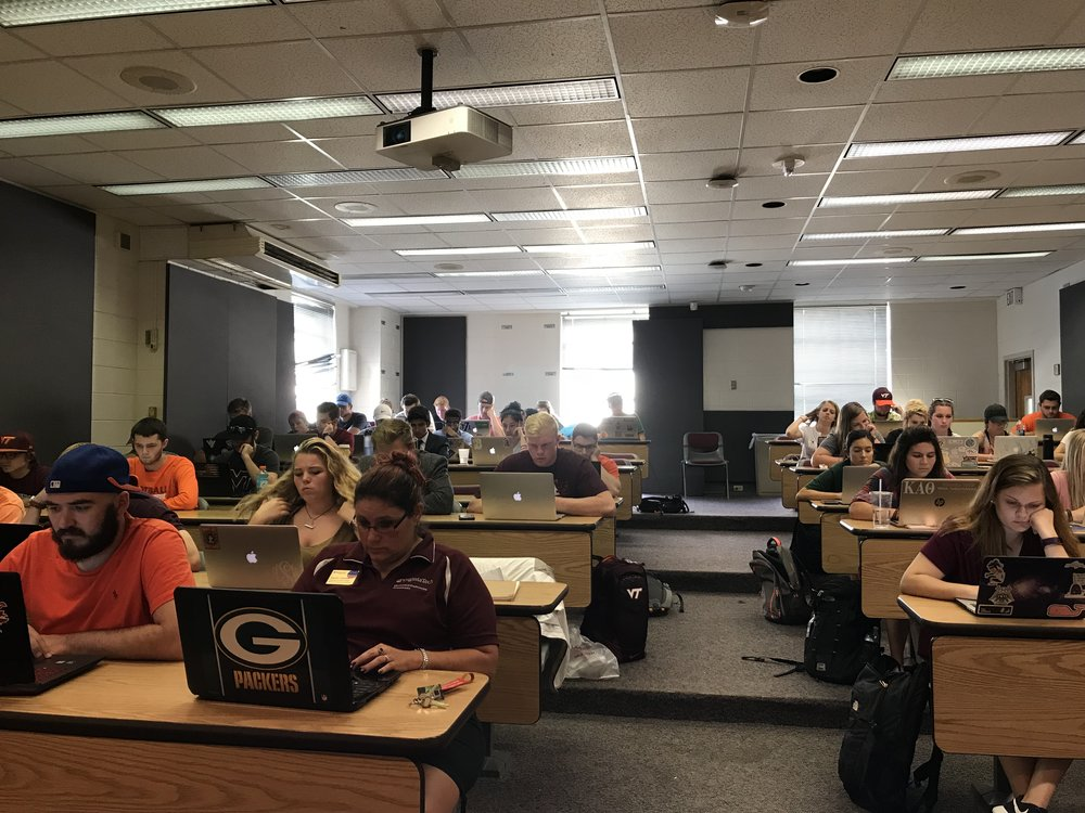 Virginia Tech students take a quiz in the Intro to Sports Media Class at Virginia Tech, Fall 2017.