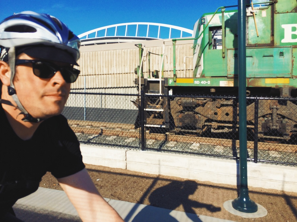 Bike commuting back in May 2014.