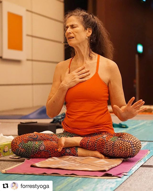 This is my fierce and loving teacher Ana Forrest. So very happy to be with her again and so lucky for this Forrest Yoga family of mine!! Yesterday's workshop woke up my body to joy, pleasure, discomfort, bad habits & how easily I check out.  Today I'm back for more delicious inquiries and creative ways to nourish myself.  Yoga medicine is not about accomplishing poses but to take responsibility with great interest & respect to everything your body and mind is doing.  The choices to get embodied, healthy and aware arrive with each slow conscious breath. What a gift! @forrestyoga #anaforrest