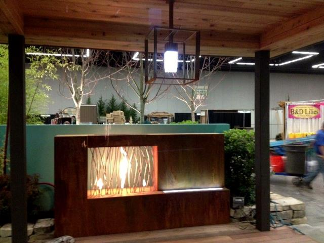 Corten and Stainless Fireplace with LED Light Effect