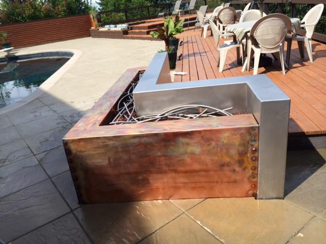 Stainless and Copper Fire Feature