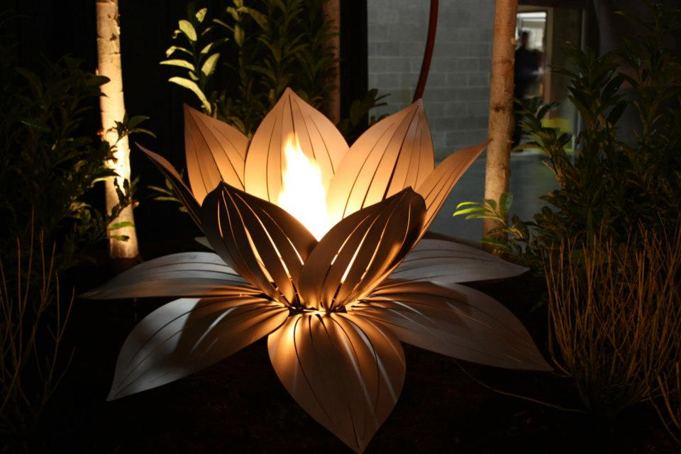 Stainless Steel Lotus Sculpture with Fire Feature
