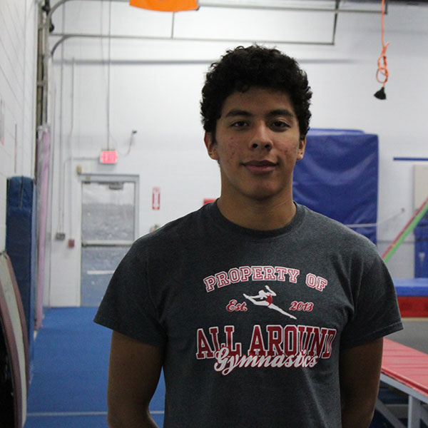 Coach Carlos - Carlos is our newest coach at AAG - he currently leads all levels of our boys' gymnastics classes in addition to some NinjaZone classes.