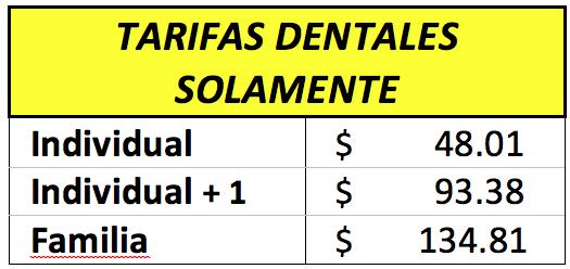 Tarifas Dentales Solamente