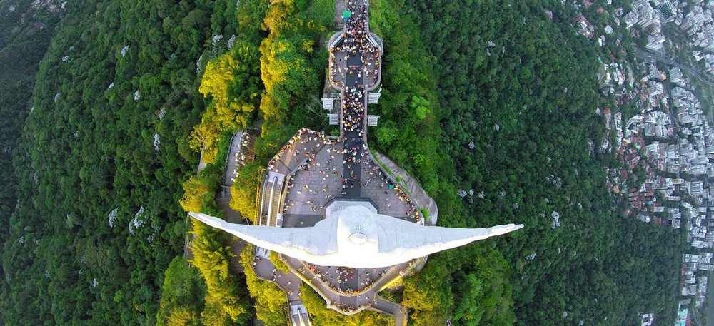 Christ the Redeemer from above in Rio De Janeiro, Brazil. Photo by Alexandre Salem via Dronestagram.