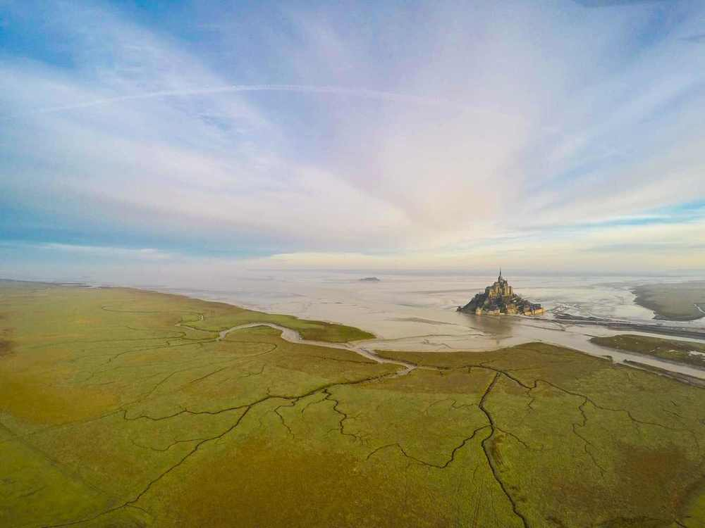 Mont Saint Michel, in Normandie, France. Photo by Jeramie Eloy via Dronestagram.