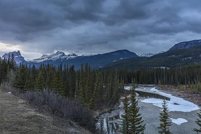 Evening view along the Trans-Canada Highway, Banff National Park