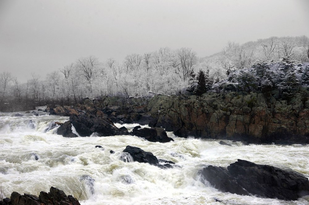 Great Falls frosted with snow, March 4, 2016. Photo credit: Kevin Ambrose