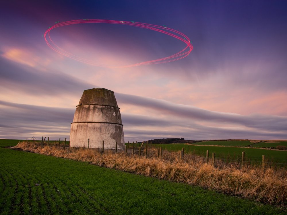 First prize in enthusiast 'drones in use' category. A long exposure shot of a drone circling a 16th century structure. Photo by Fifa.