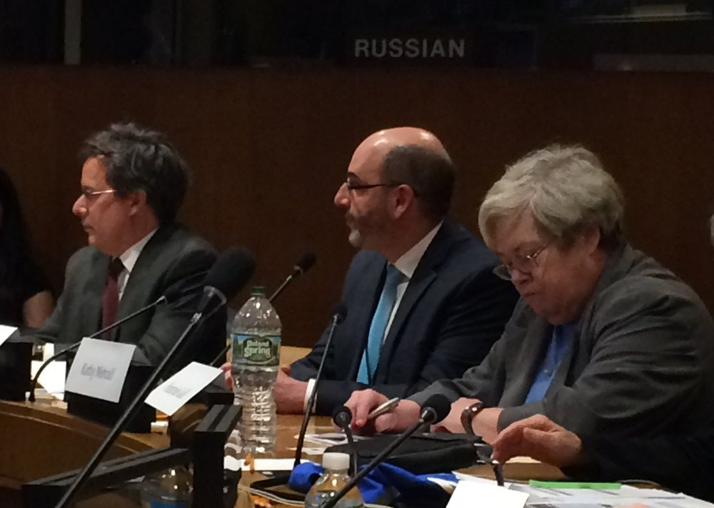 Kathy Metcalf (far right), President & CEO of Chamber of Shipping of America, represents the shipping industry on a panel at the United Nations discussing commercial ship strikes of whales and the impacts of shipping noise on living marine resources.