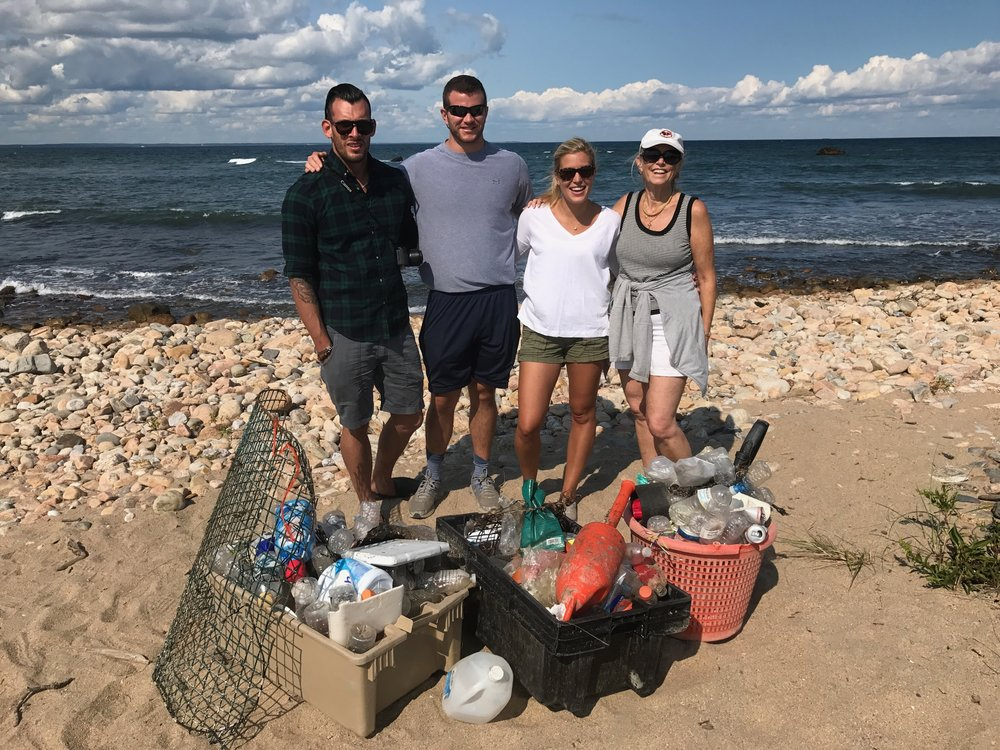"Carleen Lyden Walker (far right), Co-Founder and Executive Director of NAMEPA, transformed a tranquil stroll into a beach cleanup with her family.  Kudos to the Walkers for taking the time to ""Save Our Seas""! TRANQUILITY RECAPTURED!"