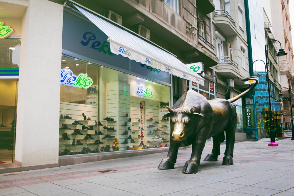 The Stock Exchange Bull - because what would a shoe store be without one?